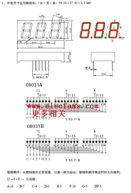7段数码管管脚顺序及译码驱动集成电路