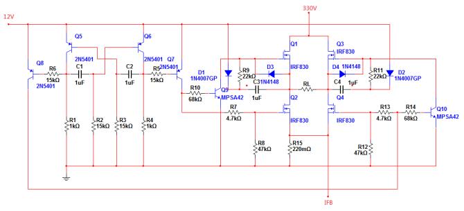 q5,q6的集电极输出两个相位相反的方波脉冲,占空比50%,频率约50hz