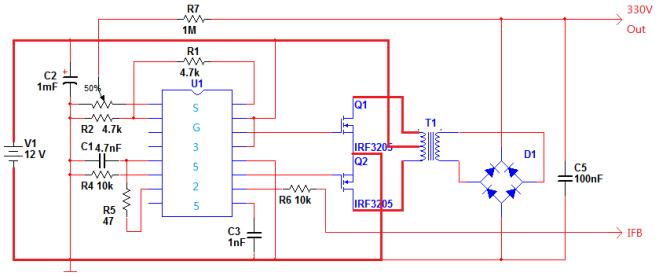 q1,q2,t1组成高频推挽逆变电路(工作于正激模式),将12vdc变成330vac.