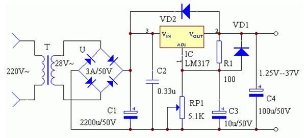7-12 应用lm317设计的连续可调稳压电源电路图