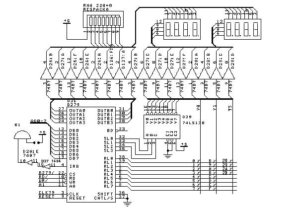 它在实验系统中由可编程芯片8279控制.其装置图如下