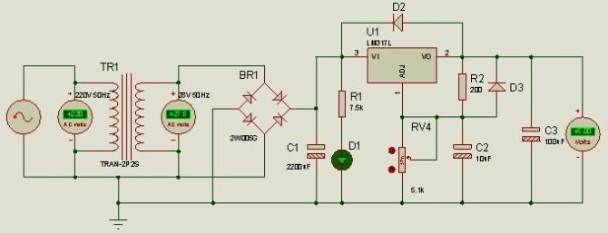 直流可调稳压电源完整电路