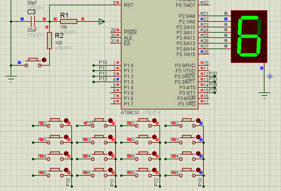 用51单片机中断编写的4x4键盘程序