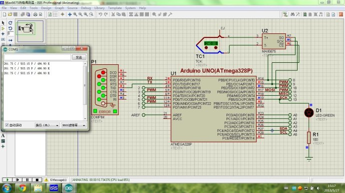 proteus的arduino学习08-max6675与热电偶高