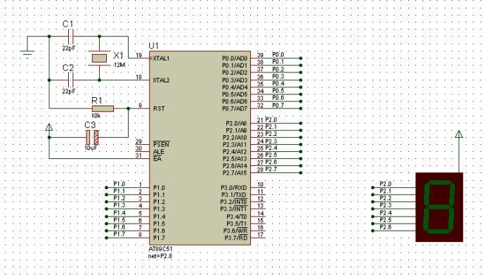 面包板单片机最小系统--单只数码管显示0~9