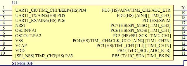 单片机教程网 stm32 >> 浏览文章  stm8s103的引脚封装图如下 stm8s