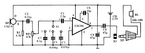 lm386组成的助听器电路图