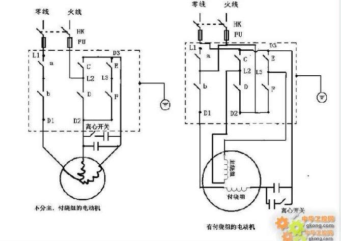 单相电机的正反转接线原理