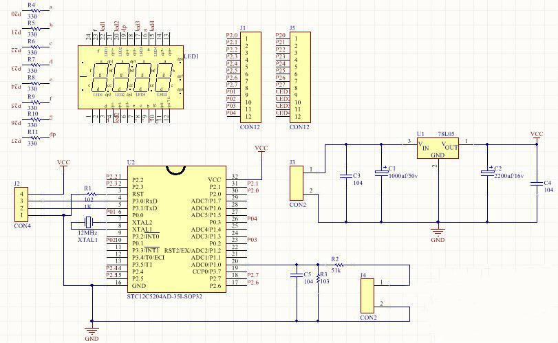 这块简单易制作的0-30VSTC单片机数字电压表,被测电压经限流电阻接到AD检测端并由分流电阻分流,读出8位(256)的AD数据,由AD值计算出AD端电压,即分流点电压,由此电压计算出分流电流,再由此电流计算出输入电压。使用STC12C5204AD单片机,P0.0-P0.3 共阴数码管位、P2 为共阴数码管段a-g dp,P0、P2 设置为推挽输出,段输出加限流电阻,AD为8位,计算方法:5/256=0.