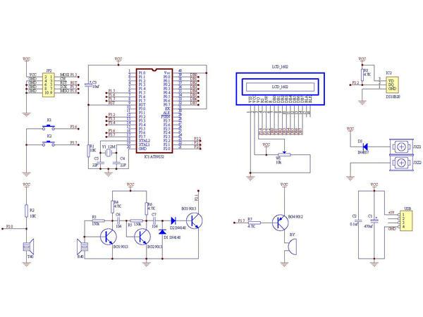这是一款由AT89S52单片机+DS18B20+1602组成的带温度补偿超声波测距仪,带温度补偿超声波测距仪由超声波发送单元、超声波接收单元、单片机系统单元、DS18B20温度单元、LCD1602显示单元、蜂鸣器报警单元构成,各单元电路清析,整个超声波测距板结构简单,制作非常容易,由于引入了温度补偿,测量精确度高。由于电路简洁,同时为了练习焊接能力及电路图识图能力,同时练习元件布局能力,整个电路焊接在一板8cm12cm的洞洞板上。焊好的实物看上去十分美观。这个带温度补偿超声波测距仪十分适合电子专业的课程设