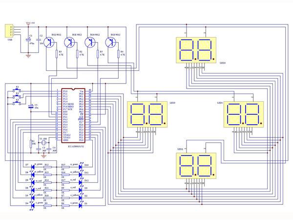 1,基于单片机的交通灯控制系统,可实现东西,南北两个方向的红,黄,绿灯图片