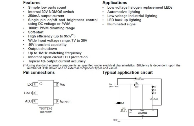 zxld1352恒流源芯片做led驱动电路