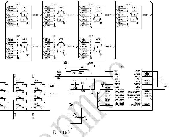 应用电路:   tm1628驱动共阴数码屏接线电路图(18):   ▲注意:1,vdd