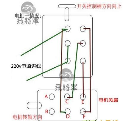 倒顺开关接线方法图片详解    1,9点倒顺开关接220v单项电机接线方法