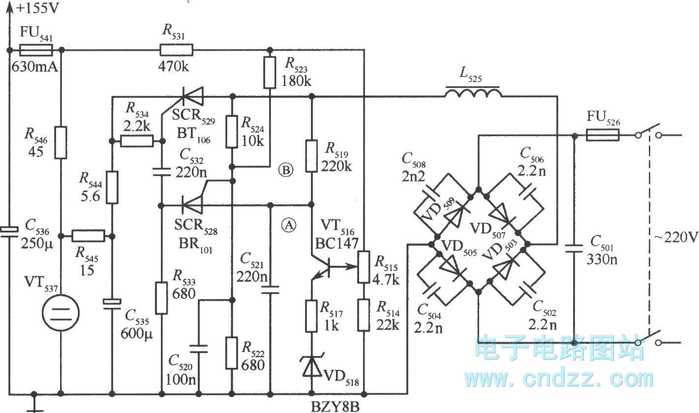 它将整流后的输入电压延时以后加到可控硅scr528的