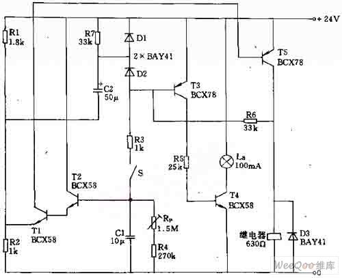 采用晶闸管的延时开关电路可以控制大功率用电器(如接触器,电磁阀