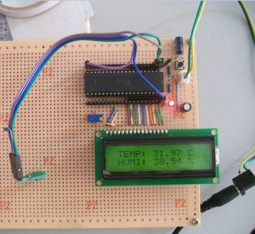 图_1602液晶外接电路图_lcd1602电路图; 51单片机做的温湿度测量仪