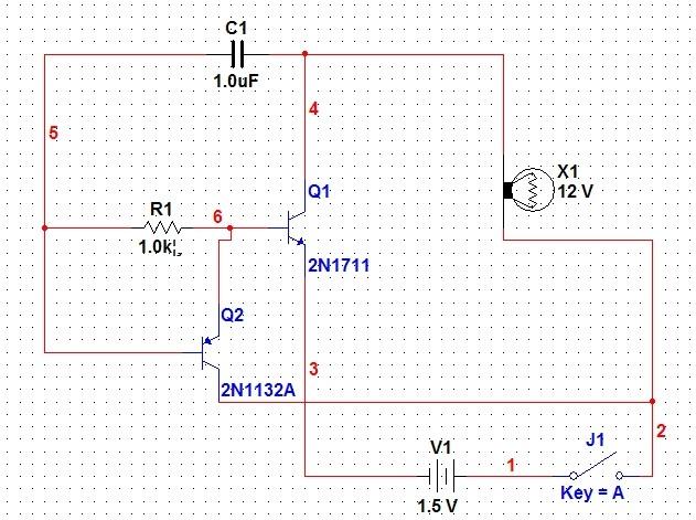 图中用灯泡代表喇叭. 当开关按下,电流从X1-->C1--->R1--->Q1基极--->Q1--->发射极---->负 这个路径向电容充电,由于电容一开始电压不能突变,电容开始瞬间左边直接等于电压电压1.5V 相当于短路. Q2基极此时为高电平截止,随着电容充电电流的减少,C1左边电压变成负电,Q1截止,此时电容开始放电,放电回路分2路:第一:C1---->X1----->Q2集电极------>Q2基极。