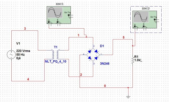 示波器测桥式整流电路波形
