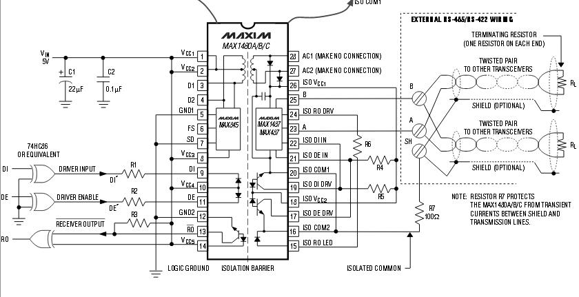 51单片机实例_RS485接口芯片max1480电路及引脚图