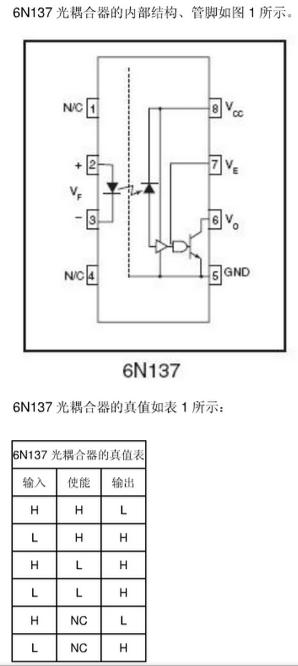 6n137,6n138,6n139引脚图及应用电路