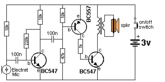 1、我觉得把麦克风看成是电压源,好理解一些,原因是:那是一只电容麦克风,通过一只10K电阻连接在电源两端,工作时麦克风两端只有电压变化,直流电流几乎为0,与三极管基极之间的100n电容为信号输入电容; 2、左边的三极管为共发射极组态,集电极为输出,这里的100n电容为前后级耦合电容,上边的10K电阻是三极管的输出电阻,流过的电流实际上就是Ie,由Ib+Ic组成,用Ic=(Vcc-Uce)/10K估算静态工作点的参数,可以简便一些,由于三极管工作在线性放大状态,Uce约为0.