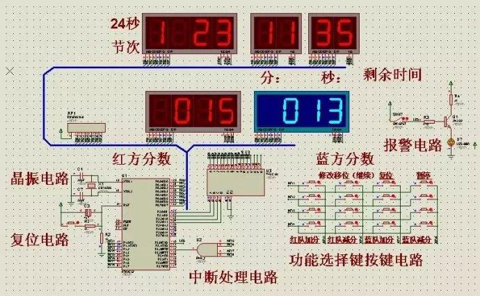 51单片机篮球计分器程序+电路图